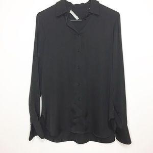 VINCE black silk blouse silk top small 4 6